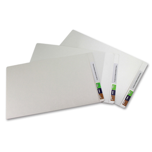 FSI 330 gsm partially laminated file folder.  Double reinforced end tab. White.