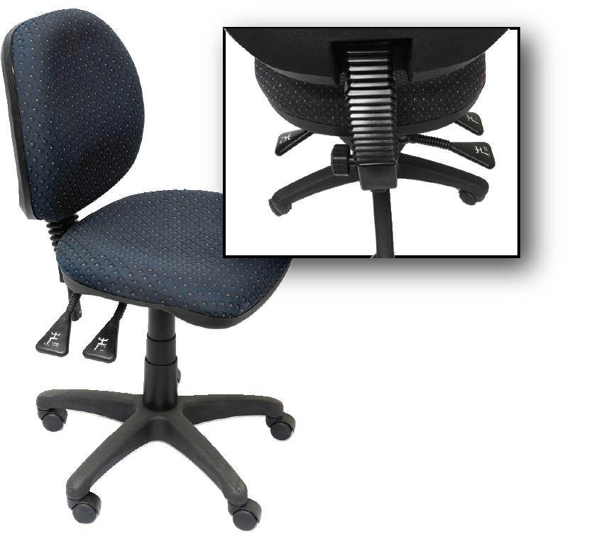 EC070CM Operator Chair Medium back Gas lift Fabric NF Showing Leavers